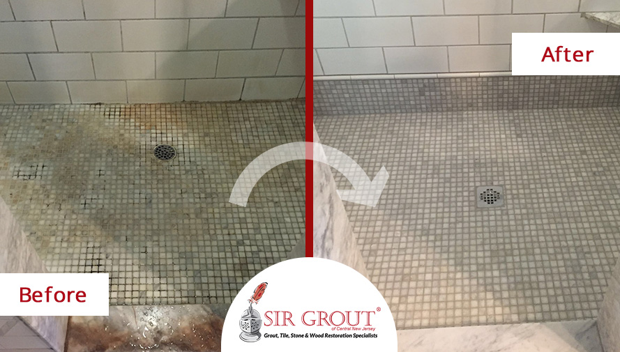 Before and After Picture of a Grout and Stone Cleaning Service in New Jersey