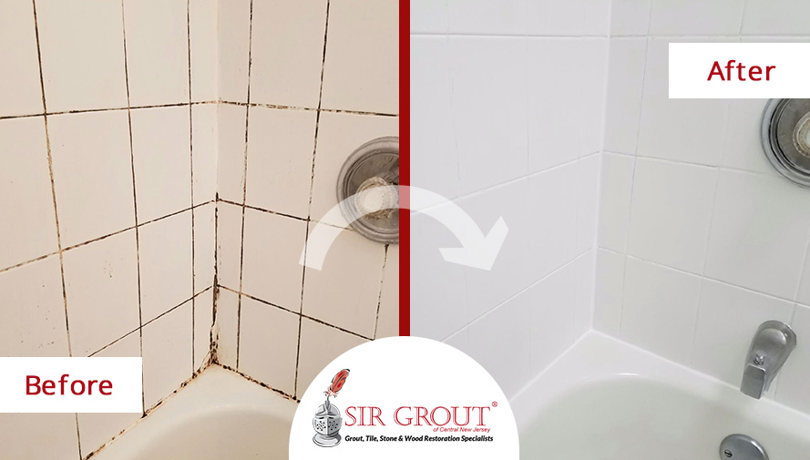 Before and After Picture of a Bathroom Grout Cleaning Service in Toms River, New Jersey