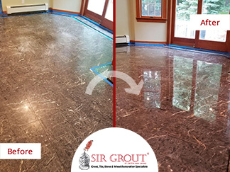 Before and After Picture of a Tile Floor Stone Polishing Service in Manasquan, New Jersey