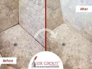 Before and After Picture of a Porcelain Tile Shower Grout Cleaning Service in Riverton, New Jersey