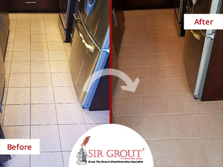 Before and After Picture of a Kitchen Floor Tile and Grout Cleaners in Manchester Township, New Jersey