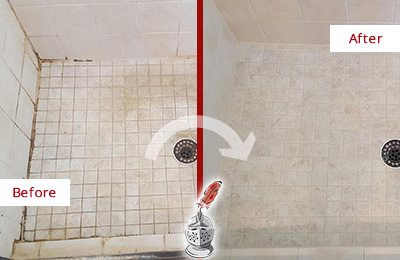 Before and After Picture of a Long Branch Shower Caulked to Fix Cracks