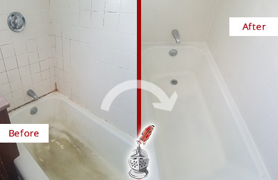 Before and After Picture of a Long Branch Bathtub Caulked to Repair Cracks