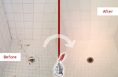 Before and After Picture of a Long Branch Bathroom Re-Caulked To Repair Damaged Caulking