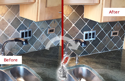 Before and After Picture of a Long Branch Backsplash Caulked to Fix and Prevent Water Leaks