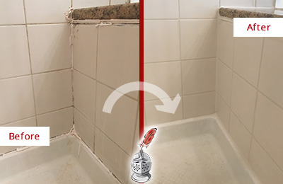 Before and After Picture of a Long Branch Shower Caulked to Repair Damaged Caulking
