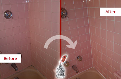 Before and After Picture of a Long Branch Bathtub Caulked to Eliminate Mold