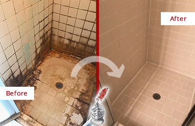 Before and After Picture of a Long Branch Shower Caulked to Fix and Prevent Water Damage