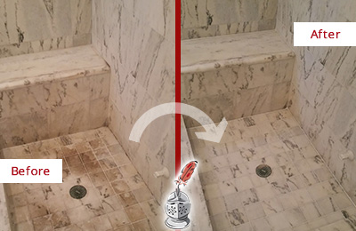 Before and After Picture of a Dirty Ship Bottom Marble Shower Cleaned to Eliminate Dark Stains