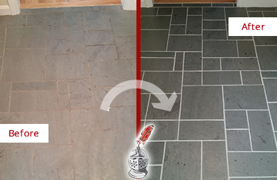 Before and After Picture of a Ewing Slate Floor Cleaned to Remove Deep-Seated Dirt