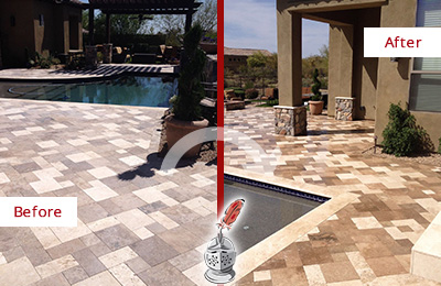 Before and After Picture of a Dull Ewing Travertine Pool Deck Cleaned to Recover Its Original Colors