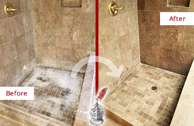 Before and After Picture of a Ship Bottom Travertine Shower Cleaned to Eliminate Water Spots