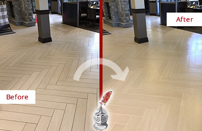 Before and After Picture of a Stone Harbor Lobby Floor Cleaned to Even the Grout Color
