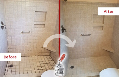 Before and After Picture of a Stone Harbor Shower Grout Cleaned to Remove Mold