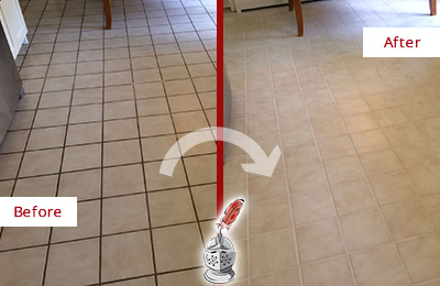 Before and After Picture of a Long Branch Kitchen Tile Floor with Recolored Grout