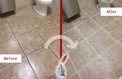 Before and After Picture of a Clayton Office Restroom Floor Recolored Grout