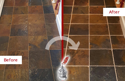 Before and After Picture of a Clayton Slate Floor Recolored Grout