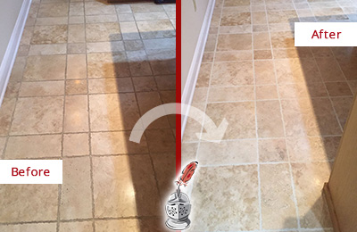 Before and After Picture of a Long Branch Travertine Kitchen Floor Recolored Grout