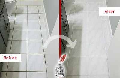 Before and After Picture of a Long Branch White Ceramic Tile with Recolored Grout