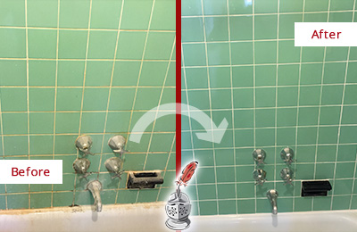 Before and After Picture of a Howell Bath Tub Grout Sealed to Avoid Water Damage