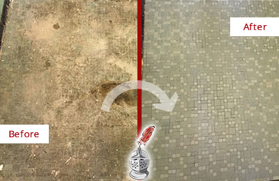 Before and After Picture of a Cherry Hill Mosaic Shower Cleaned to Eliminate Embedded Dirt