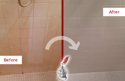 Before and After Picture of a Cherry Hill Porcelaine Shower Cleaned to Remove Soap Scum