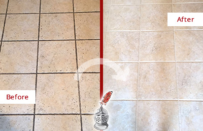 Before and After Picture of a Cherry Hill Ceramic Floor Cleaned to Remove Soil