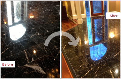 Sir Grout Central New Jersey Black Marble Hone and Polish