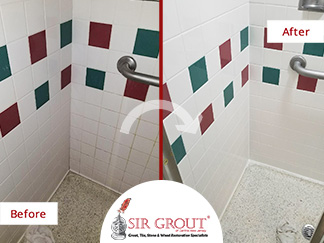 Before and After Picture of a Hospital Bathroom Tile Cleaning Service in Woodbury, New Jersey