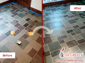 Before and After Picture of a Slate Floor Stone Cleaning Service in Wall, New Jersey