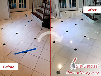 Before and After Pictute of a Marble Floor Stone Polishing Service in Holmdel, New Jersey
