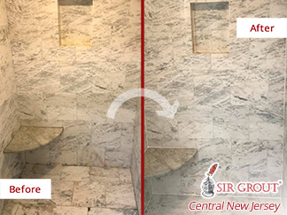 Before and After Picture of a Marble Shower Grout Sealing Service in Ocean Township, New Jersey