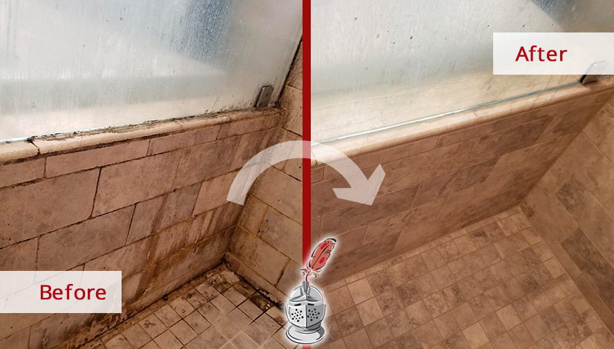 Before and After Picture of a Travertine Shower Wall After a Stone Cleaning Service in Riverton, NJ