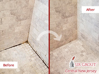 Before and After Picture of a Travertine Shower After a Stone Cleaning Service in Riverton, NJ
