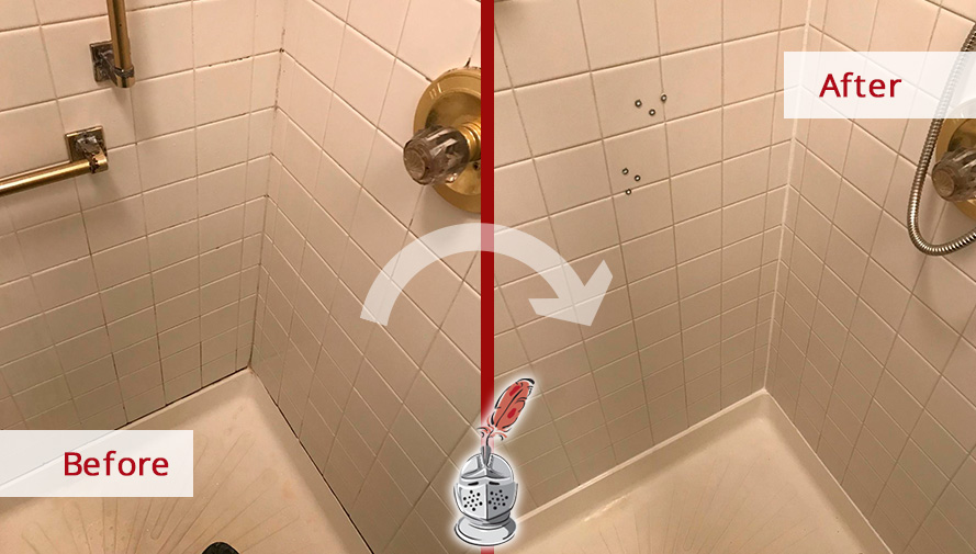 Before and After Picture of a Shower Caulking Services in Toms River, NJ
