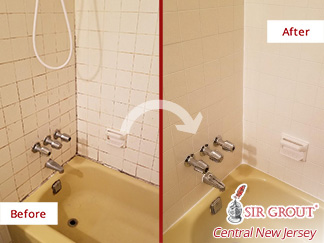 Before and After Picture of a Shower Restoration After Our Tile and Grout Cleaners Service in Spring Lake, NJ