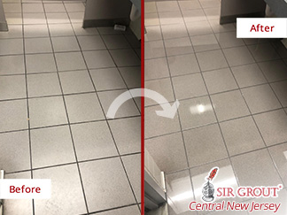Before and after Picture of a Grout Sealing Job in Manalapan, NJ