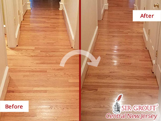 Before and after Picture of a Sanding Wood Armor Process in Haddonfield, Nj