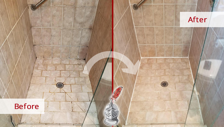 Before and after Picture of a Tile and Grout Cleaning Job in Toms River, NJ