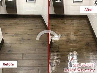 Before and After Picture of a Tile Cleaning Job in Middletown, NJ