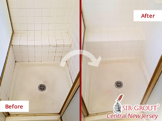 Before and After Picture of a Grout Cleaning Job in Burlington Township, NJ