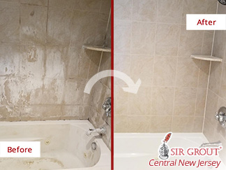 Before and After Picture of a Tile Cleaning Service in Marlboro, NJ