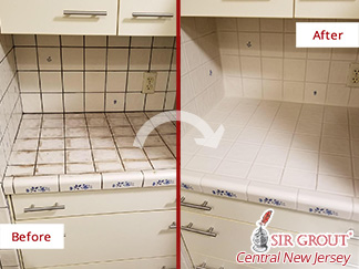 Before and After Picture of a Grout Cleaning in Elmer, NJ
