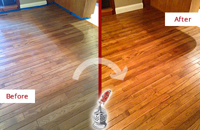 Before and After Picture of a Tennent Wood Sand Free Refinishing Service on a Dull Floor to Recover Its Sheen
