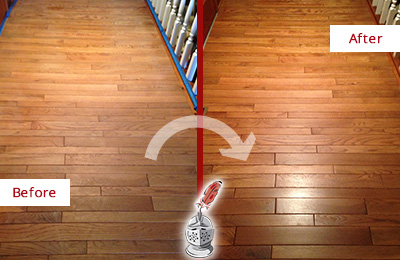 Before and After Picture of a Tennent Wood Sand Free Refinishing Service on a Dull Hallway