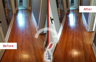 Before and After Picture of a Tennent Wood Sand Free Refinishing Service on a Floor to Eliminate Scratches