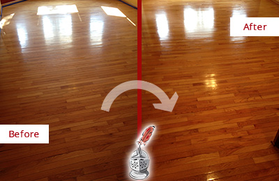 Before and After Picture of a Tennent Wood Sand Free Refinishing Service on a Room Floor to Remove Scratches