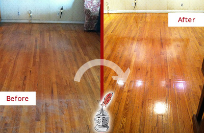 Before and After Picture of a Tennent Wood Sand Free Refinishing Service on a Stained Floor