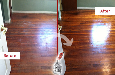 Before and After Picture of a Tennent Wood Sand Free Refinishing Service on a Dull Floor to Remove Stains