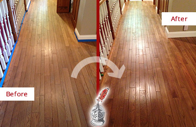 Before and After Picture of a Tennent Wood Sand Free Refinishing Service on a Worn Out Floor